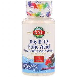 Витамин B12 + B6 фолиевая кислота, Vitamin B-6 B-12 Folic Acid, KAL, ягоды, 60 таблеток (Default)