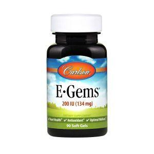 Витамин Е, E-Gems Natural Vitamin E, Carlson Labs, 200 МЕ, 90 гелевых капсул