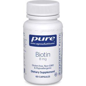 Биотин, Biotin, Pure Encapsulations, для снятия стресса, укрепления волос, кожи и ногтей, метаболизма, поддержки глюкозы и нервной системы, 8 мг, 60 капсул