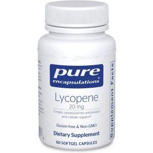 Ликопин, Lycopene, Pure Encapsulations, поддержка предстательной железы, клеток и желтого пятна, 20 мг, 60 капсул