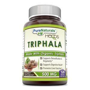 Трифала, Organic Triphala, Pure Naturals, 500 мг, 120 вегетарианских капсул