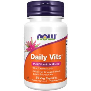 Мультивитамины, Daily Vits, Multi Vitamin & Mineral, Now Foods, 30 капсул