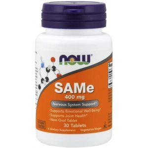 Аденозилметионин, SAMe, Now Foods, 400 мг, 30 таб