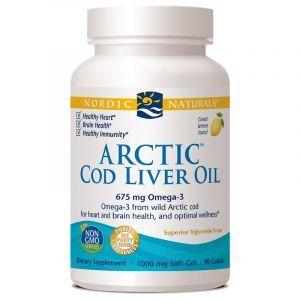 Рыбий жир из печени трески, Cod Liver Oil, Nordic Naturals, лимон, арктический, 1000 мг, 90 капсул (Default)