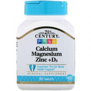 Кальций Магний Цинк + Д3, Cal Mag Zinc + D3, 21st Century, 90 таблеток (Default)