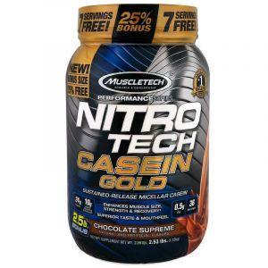 Мицеллярный казеин, с замедленным высвобождением, Nitro-Tech, Casein Gold, Muscletech, вкус шоколада, 1,15 кг