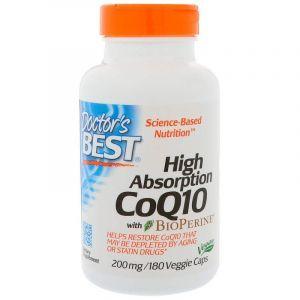 Коэнзим Q10, CoQ10, Doctor's Best, биоперин, 200 мг, 180 капсул (Default)