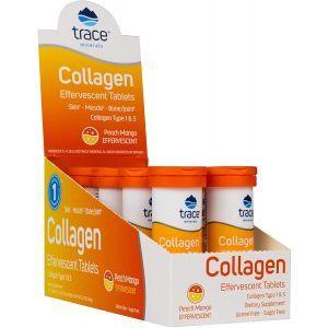 Коллаген 1 и 3 типа, Collagen Effervescent, Trace Minerals Research, вкус персик и манго, 8 тюбиков по 10 шипучих таблеток