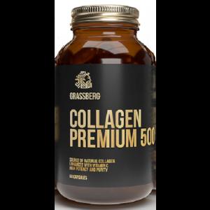 Коллаген премиум+витамин С, Collagen Premium, Grassberg, 500 мг/40 мг, 60 капсул