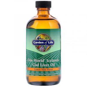 Рыбий жир из печени трески, Cod Liver Oil, Garden of Life, вкус лимона и мяты, 236 мл (Default)