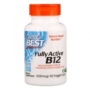 Витамин В12 (метилкобаламин), Active B12, Doctor's Best, активный, 1500 мкг, 60 кап. (Default)