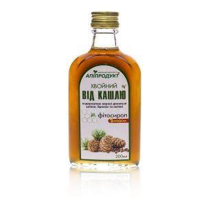 "Фітосироп з медом ""Хвойний від кашлю"", Phyto Syrup with honey, Апіпродукт, 200 мл."