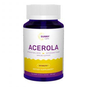 Ацерола, Acerola, Sunny Caps, 500 мг, 30 таблеток