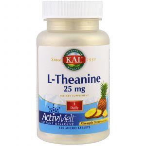 L-теанин, со вкусом ананаса, L-Theanine, KAL, 25 мг, 120 микро таблеток,