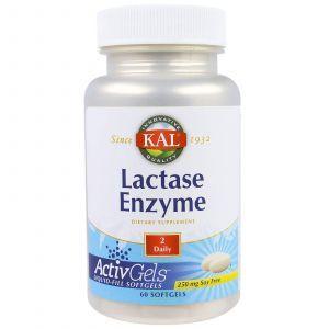 Фермент лактаза, Lactase Enzyme, KAL, 250 мг, 60 кап.