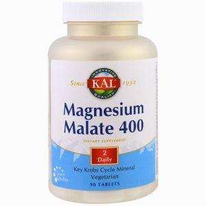 Магний малат, Magnesium Malate, KAL, 400, 90 таб.