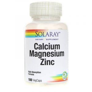 Кальций, магний и цинк, Calcium, Magnesium, Zinc, Solaray, 100 вегетарианских капсул