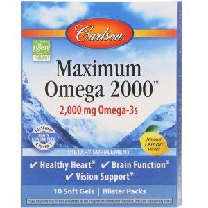 Омега с натуральным вкусом лимона, Maximum Omega Minis, Carlson Labs, 2000 мг, 10 упаковок, 10 гелевых капсул в каждой