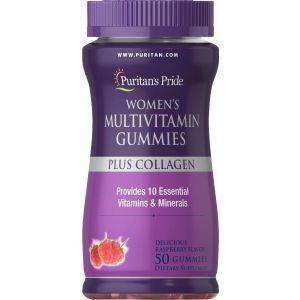 Мультивитамины для женщин плюс коллаген, Women's Multivitamin, Puritan's Pride, 50 жевательных конфет