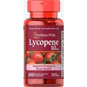 Ликопин, Lycopene, Puritan's Pride, 10 мг, 100 гелевых капсул быстрого высвобождения