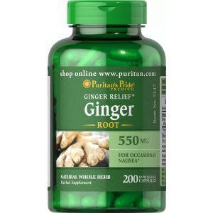 Корень имбиря, Ginger Root, Puritan's Pride, 550 мг, 200 капсул