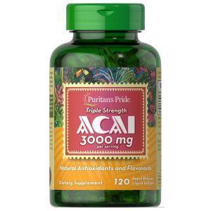 Асаи, Acai, Puritan's Pride, тройная сила, 3000 мг, 120 гелевых капсул