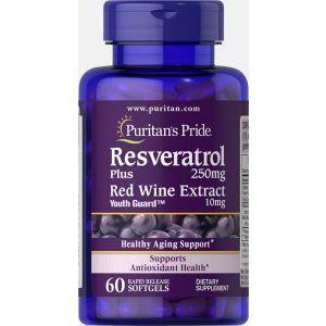 Ресвератрол, Resveratrol, Puritan's Pride, 250 мг, 60 гелевых капсул