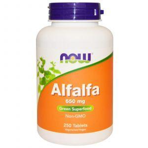 Альфальфа, Alfalfa, Now Foods, 650 мг, 250 табле