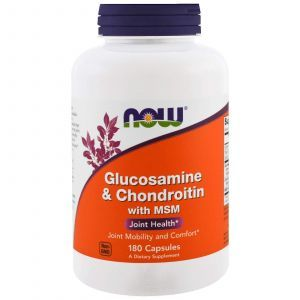 Глюкозамин и хондроитин с MSM, Glucosamine & Chondroitin with MSM, Now Foods, 180 кап