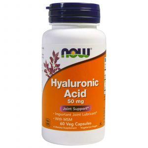 Гиалуроновая кислота и МСМ, Hyaluronic Acid, Now Foods, 50 мг, 60 к