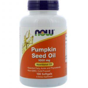 Тыквенное масло, Pumpkin Seed Oil, Now Foods, 1000 мг, 100 капс