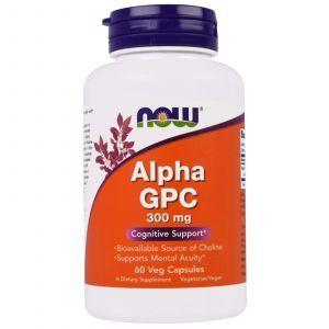 Альфа (Глицерофосфохолин) Alpha GPC, Now Foods, 300 мг, 60 кап