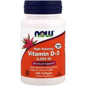 Витамин Д3, Vitamin D-3, Now Foods, 2000 МЕ, 240 капс