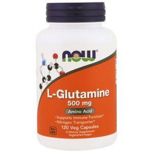 Глютамин, L-Glutamine, Now Foods, 500 мг, 120 капсу