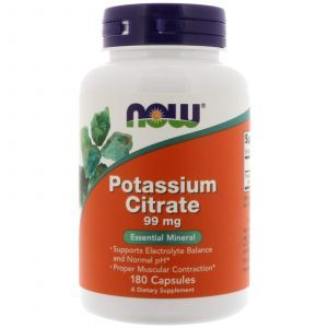 Калий цитрат, Potassium Citrate, Now Foods, 99 мг, 180 капсу