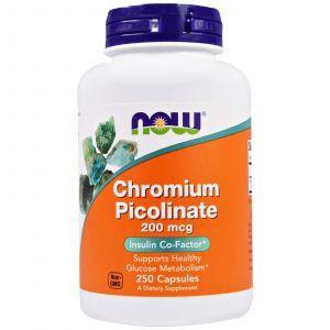 Хром пиколинат, Chromium Picolinate, Now Foods, 200 мкг, 250 ка