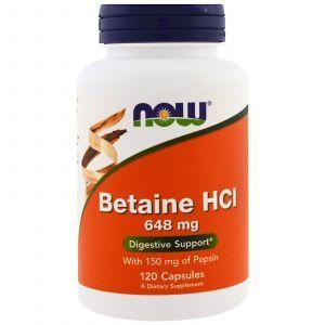 Бетаин гидрохлорид, Betaine HCL, Now Foods, 648 мг, 120 капс