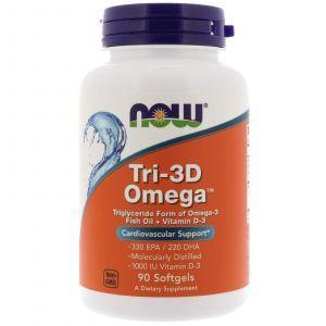 Рыбий жир в капсулах + Д3, Tri-3D Omega, Now Foods, 90 капс