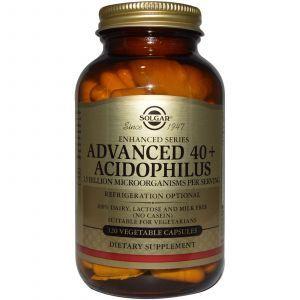 Пробиотики, Probiotics, Solgar, Ацидофилус 40+, 120 капс