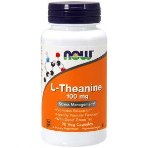 Теанин, L-Theanine, Now Foods, 100 мг, 90 кап