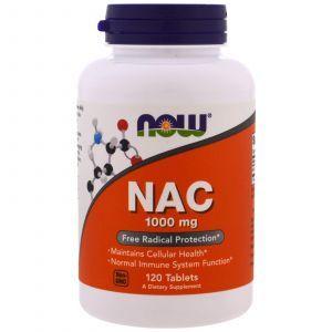 Ацетилцистеин, NAC, Now Foods, 1000 мг, 120 таблет