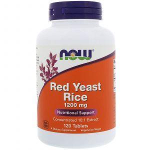 Красный дрожжевой рис, Red Yeast Rice, Now Foods, 1200 мг, 120 табле