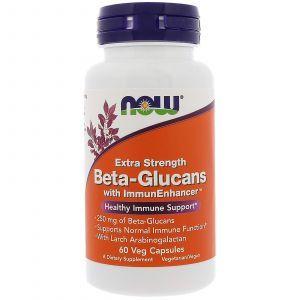 Бета глюкан, Beta-Glucans, Now Foods, 250 мг, 60 капс