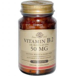 Рибофлавин, Vitamin B2, Solgar, 50 мг, 100 таб