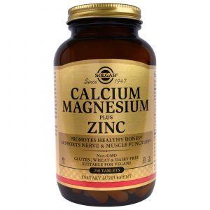 Кальций магний цинк (Calcium Magnesium), Solgar, 250 таблет