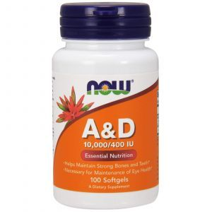Витамин А и Д, A&D, Essential Nutrition, Now Foods, 10000/400 МЕ, 100 ка