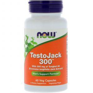 Репродуктивное здоровье мужчин, тонгкат али, TestoJack, Now Foods, 300 мг, 60 кап