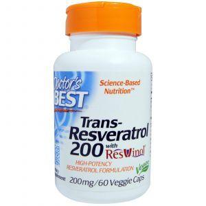 Ресвератрол, Trans-Resveratrol, Doctor's Best, 200 мг, 60 кап