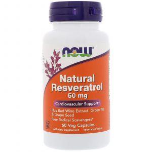Ресвератрол (Resveratrol), Now Foods, 60 капсу
