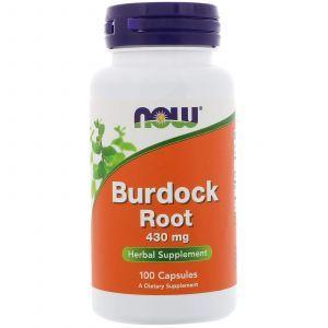 Корень лопуха, Burdock Root, Now Foods, 430 мг, 100 кап